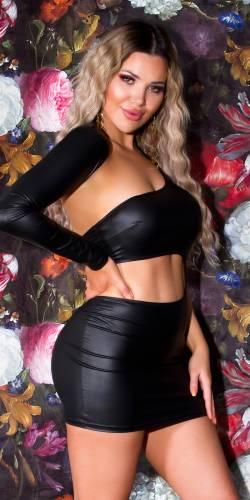 Wetlook Kleid Caria - schwarz