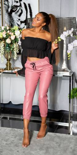 Pantalon aspect cuir - rose