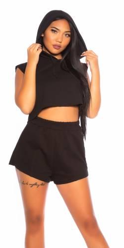 Crop Hoodie & Shorts - schwarz