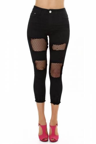 Netz Jeans Aiva - schwarz