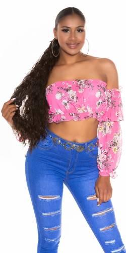 Top floral Carmen - pink
