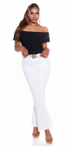 Pantalon évasé Alera - blanc