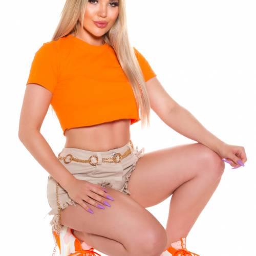 Basic Crop Shirt - orange