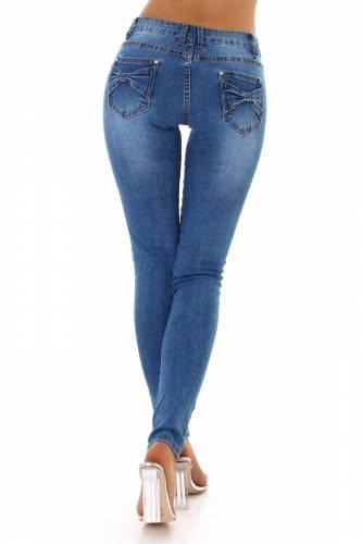 Skinny Jeans mit Schlaufe - blau