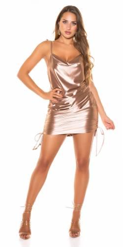 Mini robe en satin - or