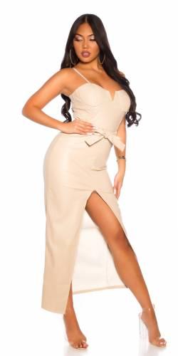 Lederlook Kleid - beige