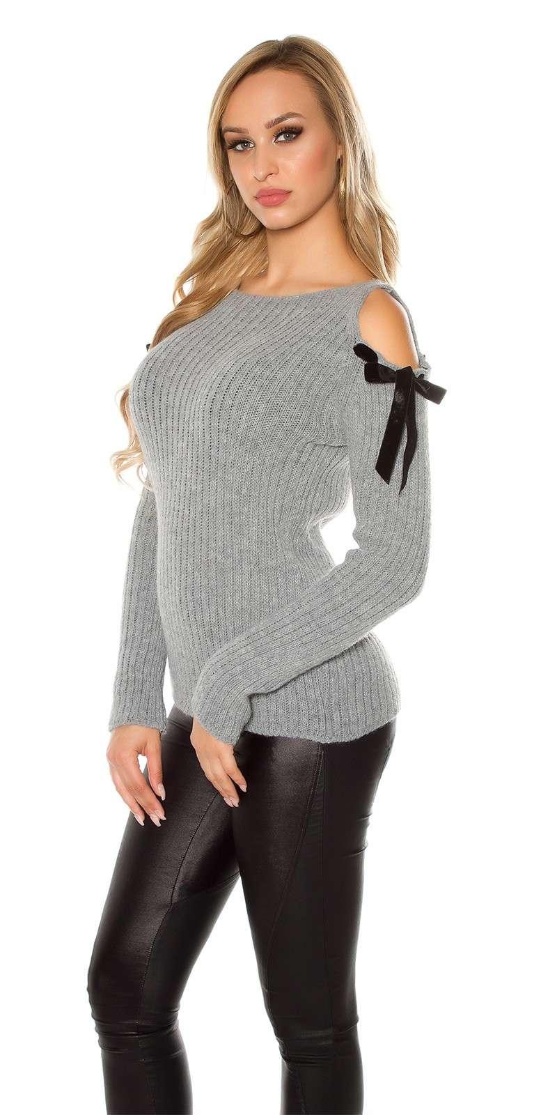 grobstrick pulli pullover sweatshirt grau. Black Bedroom Furniture Sets. Home Design Ideas