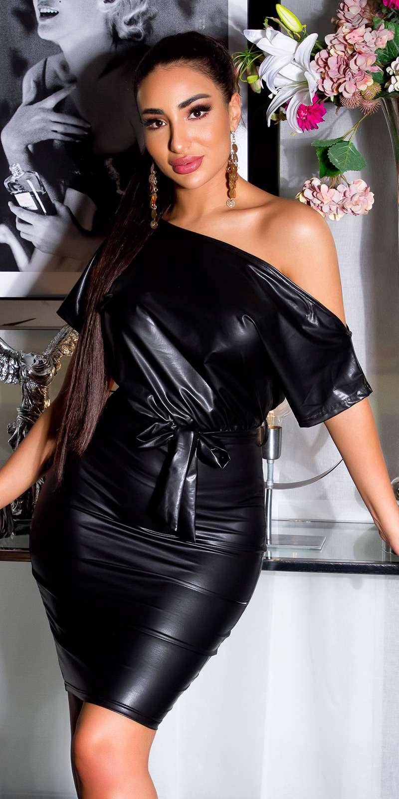 Leder-Look Kleid