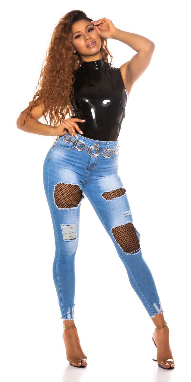 High Waist Jeans avec filet